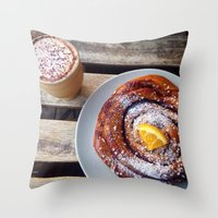 swedish Throw Pillows featuring Swedish fika by Jeanette Perlie