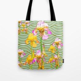 White-Pink  yellow Iris Wave Art Tote Bag