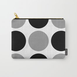 Mid Century Modern Polka Dot Pattern 9 Black and Gray Carry-All Pouch