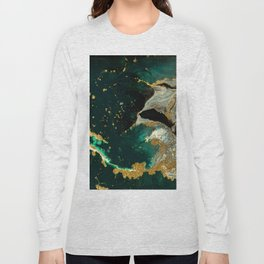 Abstract Pour Painting Liquid Marble Abstract Dark Green Painting Gold Accent Agate Stone Layers Long Sleeve T-shirt