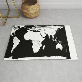World Map Black & White Rug