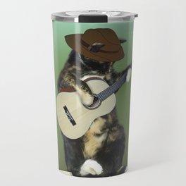 Cat Playing Guitar Travel Mug