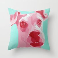 jack russell Throw Pillows featuring Jack Russell by Caroline Ward