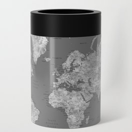 Dark gray watercolor world map with cities Can Cooler