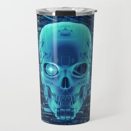 Gamer Skull BLUE TECH / 3D render of cyborg head Travel Mug