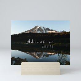 Mountain Adventure Awaits Mt Rainier Mini Art Print