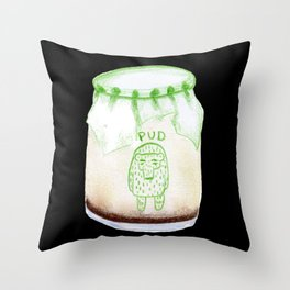 Bear Pudding, Japanese conbini sweets illustration Throw Pillow