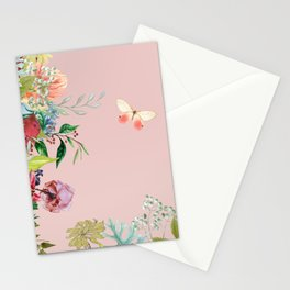 Vintage shell pink bouquet Stationery Cards