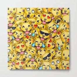 Pitbull Pattern Yellow Metal Print