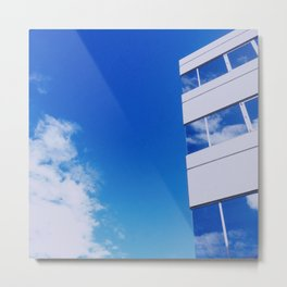 Building and Clouds Reflection Metal Print