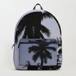 Tropical palm trees in sunset blue Backpack