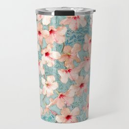 Shabby Chic Hibiscus Patchwork Pattern in Peach & Mint Travel Mug