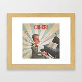 Cri cri, el grillito cantor tocando el piano Framed Art Print