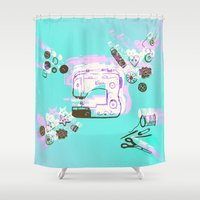 sewing Shower Curtains featuring Sewing Splash by minniemorrisart