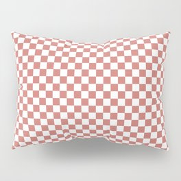 Small Camellia Pink and White Checkerboard Square Pattern Pillow Sham