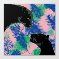 Panthers with palm leaves Canvas Print