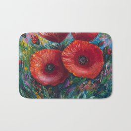Red Poppies Oil Painting with a Palette Knife Bath Mat