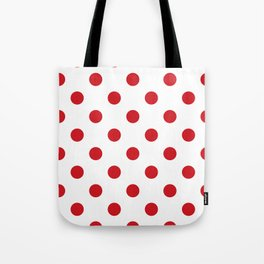 Polka Dots - Fire Engine Red on White Tote Bag