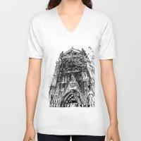takmaj V-neck T-shirts featuring Notre Dame by takmaj