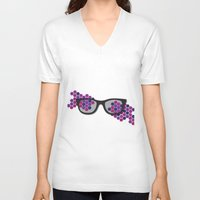 glasses V-neck T-shirts featuring Glasses by Laura Stiner
