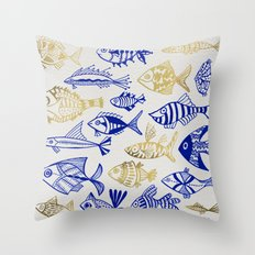 Inked Fish – Navy & Gold Throw Pillow