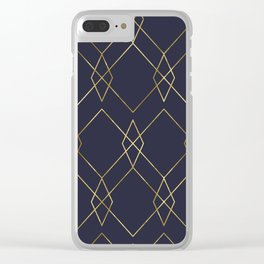 Gold Geometric Navy Blue Clear iPhone Case