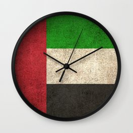 Old and Worn Distressed Vintage Flag of United Arab Emirates Wall Clock