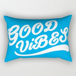Good Vibes Happy Uplifting Design White And Blue Rectangular Pillow