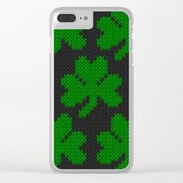Shamrock pattern - black, green Clear iPhone Case