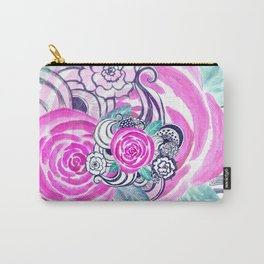 Grunge Pink Acrylic Flowers Carry-All Pouch