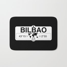 Bilbao Basque Country with World Map GPS Coordinates Bath Mat