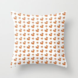 Red foxes pattern Throw Pillow