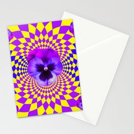 OPTICAL LILAC PURPLE PANSIES YELLOW  GEOMETRIC ART Stationery Cards