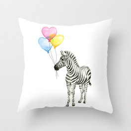 Zebra Watercolor With Heart Shaped Balloons Throw Pillow