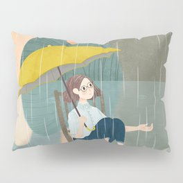Lonely Girl In Rain Day Pillow Sham