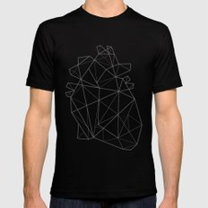 Origami Heart Black Mens Fitted Tee MEDIUM