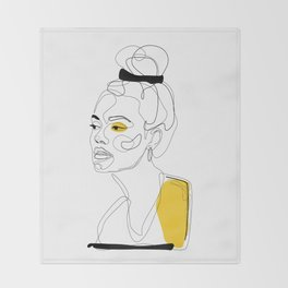 Yellow Sketch Throw Blanket