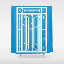 Abstract Geometric Door (Greek Mountain Village) – White/Blue Shower Curtain