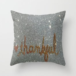Thankful Holiday Glitter Card Throw Pillow