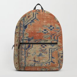 Vintage Woven Navy and Orange Backpack