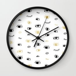 Funny fashion gold and black cute eyes pattern Wall Clock