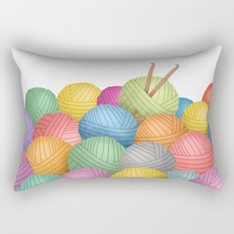 Two Crochet Hooks And A Lot Of Yarn Rectangular Pillow