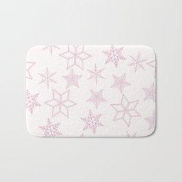 Pink Snowflakes On White Background Bath Mat