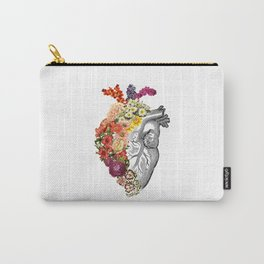 Flower Heart Spring White Carry-All Pouch