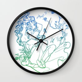 The Masked Fairy - greenish blue version - A masked fairy girl surrounded by butterflies and roses Wall Clock