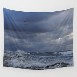 Blue wave Wall Tapestry