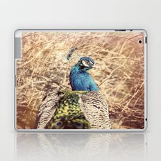Peacock photography blue green brown photography branches immortality royalty Laptop & iPad Skin