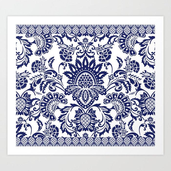 damask blue and white Kunstdrucke