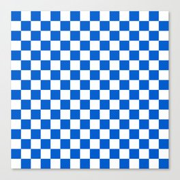 Gingham Brilliant Blue Checked Pattern Canvas Print