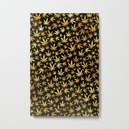 Black Gold Weed Pattern Metal Print